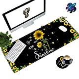 Desk Pad Mat Large Mouse Pad XL Extended Mousepad Gaming with Sunflower 31.5