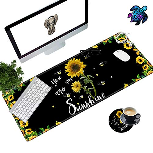 Desk Pad Mat Large Mouse Pad XL Extended Mousepad Gaming with Sunflower 31.5' 11.8' Huge Mouse Pads for Computer Laptop Home Office + Cup Coaster and Cute Stickers, You are My Sunshine
