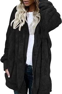 Women Casual Fuzzy Fleece Hoodies Cardigan Pocket Faux Fur Outerwear Coat