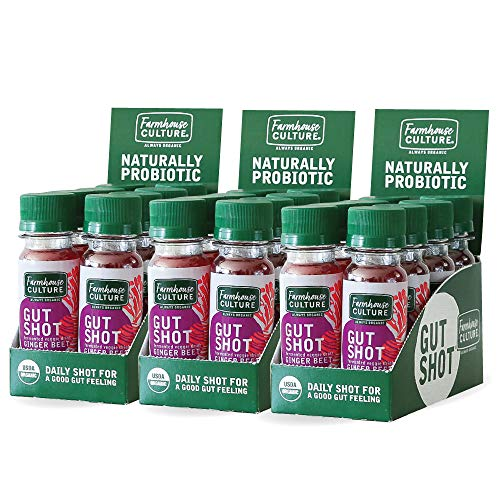 Live Probiotic Ginger Shots, Immunity Boost & Gut Health, Organic & Fermented 24-Pack Ginger Beet Gut Shot by Farmhouse Culture