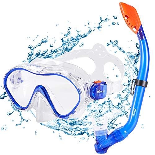 KUYOU Premium Kinder Schnorchelset Taucherbrille mit Schnorchel Tauchset gehärtete Anti-Beschlag Gläser Taucherbrille wasserdichte Tauchmaske und trockenem Schnorchel Set (Blau)