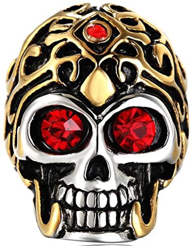Epinki Anillos de Hombre de Acero Inoxidable, Cráneo Forma Anillo de Matrimonio Propuesta de Matrimonio Anillo Anillos para Hombre con Rojo Circonita Talla 17
