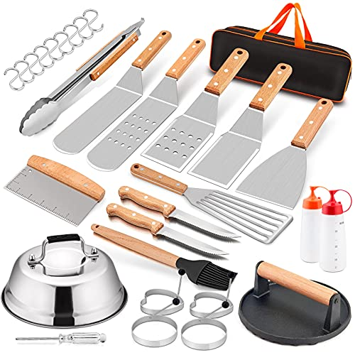 """Griddle Accessories Set of 20, HaSteeL Complete Stainless Steel Griddle Spatula Tools with 9"""" Melting Dome, Heavy Duty Metal Spatulas Choppers Cast Iron Grill Press for Flat Top Teppanyaki BBQ Outdoor"""