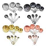 Taza medidora de acero inoxidable de oro rosa 8 piezas Set herramientas de hornear cuchara de medición de oro taza de medición cuchara de medición