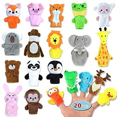 20pcs Easter Finger Puppet Set for Toddlers - Prefilled with Animal Finger Puppets Soft Velvet Dolls Props Toys for Party Favors, Easter Eggs Hunt, Easter Basket Stuffers, Easter Egg Fillers from Evoio