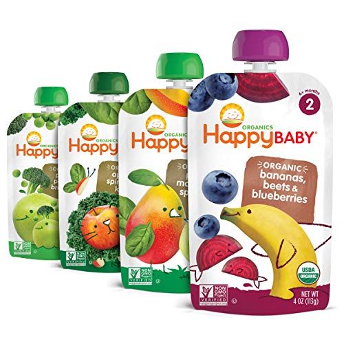 Happy Baby, Organic Stage 2 Food Simple Combos of Assorted Flavors, Variety Pack, 4 Ounce, Flavors May Vary (Pack of 16)