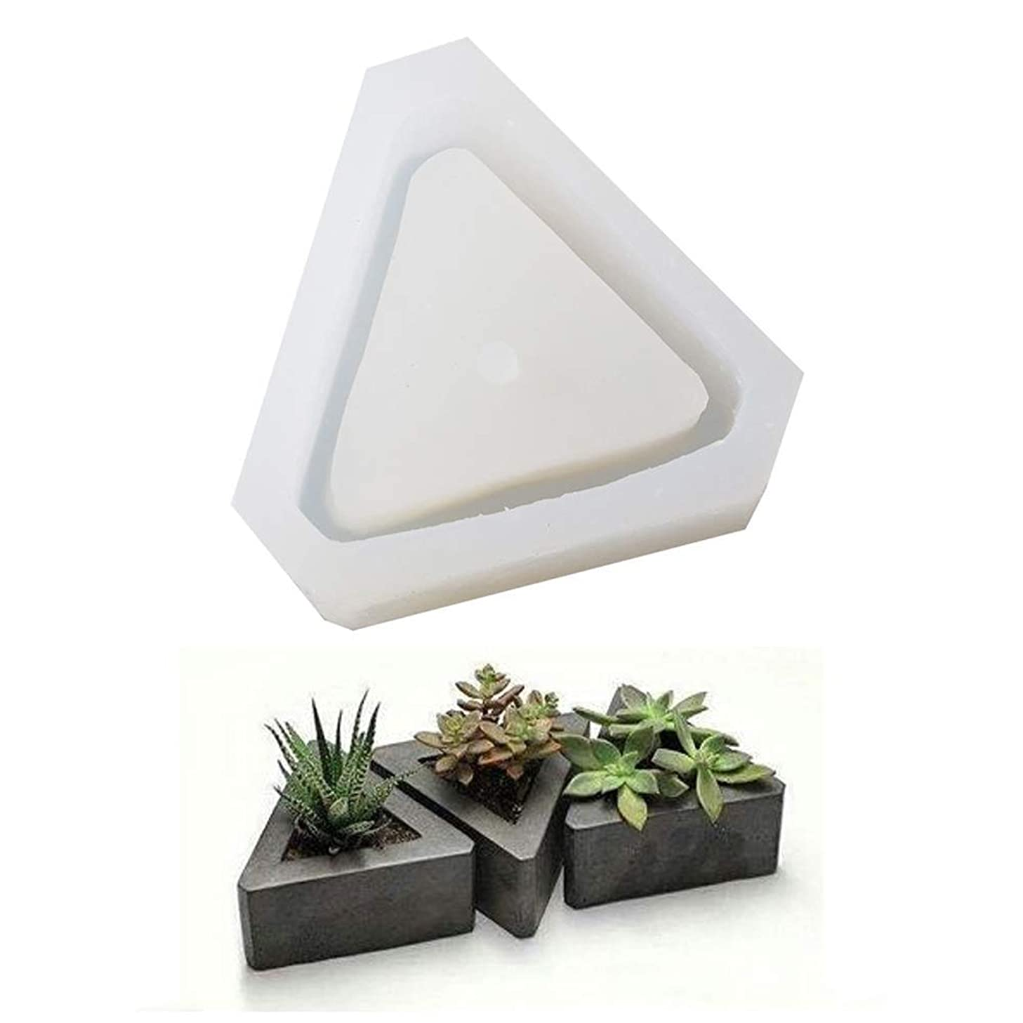 Diamond Shaped Pot Ceramic Clay Mold DIY Silicone Succulent Plants Concrete Planter Vase Molds Handmade Craft Cake Pizza Jelly Microwave and Freezer Mould (Triangel)
