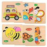 Legno Giocattoli Bambini Set da 6 Pezzi Puzzle a Forma di Animali Piccola Tigre Granchio Farfalla Ape TartarugaTaxi Giochi Educativi Colorati Prima Infanzia Giocattolo Regalo Bambini Prescolare