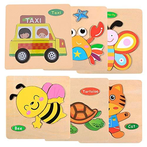 Puzzles de Madera Educativos para Bebé, Colorido Rompecabezas de Animales 6 Piezas niños Juguetes educativos de Inteligencia Rompecabezas (Pequeño Tigre Cangrejo Mariposa Abeja Tortuga Taxi)