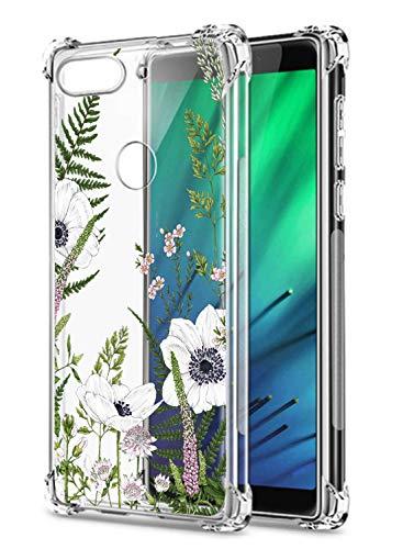 Oihxse Cristal Compatible con Xiaomi Mi Mix 2S Funda Transparente TPU Silicona Estuche Airbag Esquinas Anti-Choque Anti Rasguños Diseño Rosa Flower Caso (Flores A4)