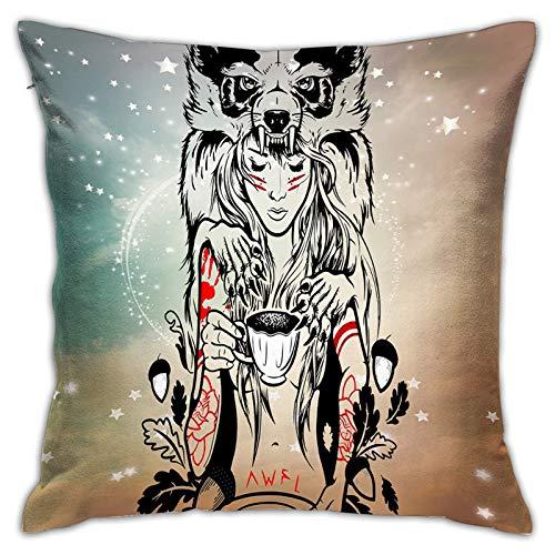Hinyast Fundas de almohada con impresión 3D, princesa Mononoke, Studio Ghibli Anime, fundas de cojín cuadradas decorativas para sofá, decoración del hogar, 45 x 45 cm