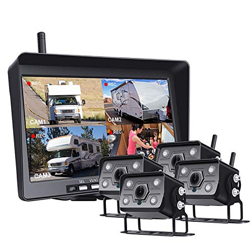 BaiTTang Sistema de inversión inalámbrico Digital 1080P, Pantalla Dividida de 10 Pulgadas de Monitor Grande, cámara IP68 IR IR IR Night View View View View, se aplican a los vehículos de 65 pies