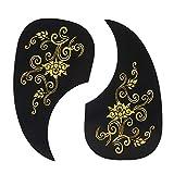 Golpeador de guitarra, 2 piezas Golpeador autoadhensive forma de coma, adhesivo protector para guitarra acústica (dorado)
