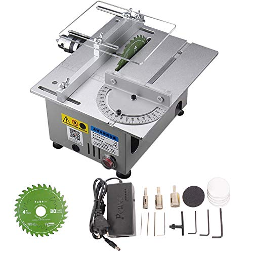 AKDSteel Mini Table Saw Woodworking Lathe Electric Polisher Sharpener DIY Circular Cutting Saw Blade Industrial Products Silver L3European Plug Silber Europäischer Stecker