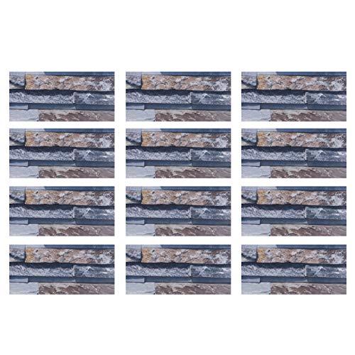 zhoul 12 Piezas 3D Pegatina de baldosas de cerámica, PVC Impermeable DIY Autoadhesivo Adhesivo para Pared de Suelo para Cocina, Dormitorio, hogar, Oficina, decoración(KIT045)