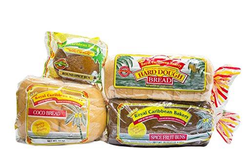 Royal Caribbean Bakery Variety Pack (Hard Dough Bread, 28Oz.; Spice Fruit Bun, 38 Oz.; Coco Bread, 16 Oz.; Round Spice Bun, 5 Oz.))