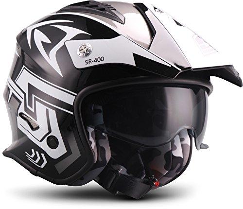 Preisvergleich Produktbild SOXON® SR-400 Storm Titan · Jet-Helm · Motorrad-Helm Roller-Helm Scooter-Helm Bobber Chopper · ECE Sonnenvisier Schnellverschluss Tasche L (59-60cm)
