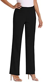 Women's Bootcut Stretch Elastic Waist Slim Fit Comfortable Pull on Dress Pants Full Ankle Length Trousers