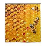 CPYang Duschvorhänge Wabenbär Biene Wasserdicht Schimmelresistent Badevorhang Badezimmer Home Decor 168 x 182 cm mit 12 Haken