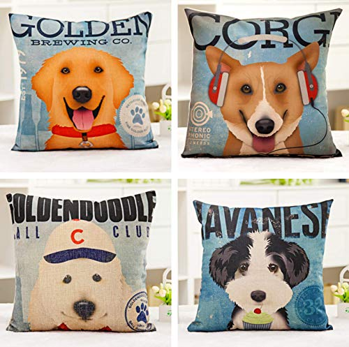 JgZATOA Cartoon Dog Cushion Cover Living Room Sofa Pillow Cases Bed  Pillow Case Office Cushion 45 X 45Cm Set Of 4