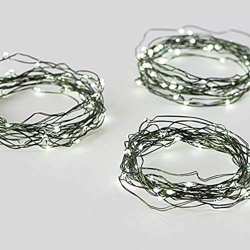 LampLust Green Fairy Lights with 60 Cool White LEDs - Pack of 3 Mini Firefly String Lights, 12 Ft Strands, Dark Green Wire, Battery Operated, Timer Included, Water Resistant for Indoor/Outdoor Use
