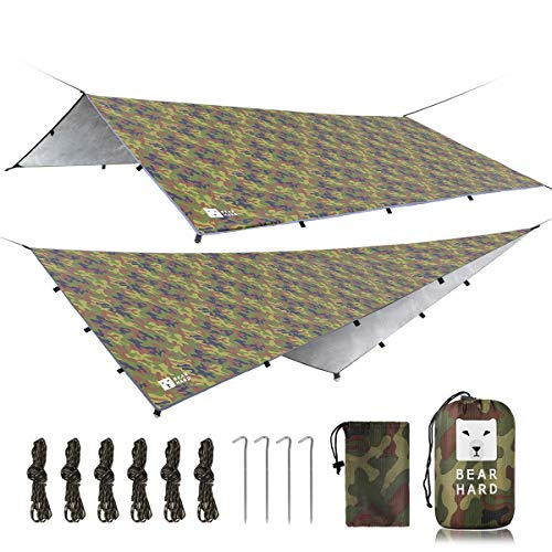 Bearhard Wasserdicht Camping Tarp Zeltplanen 3 x 3,6 m, Ultraleicht Multifunktionales UV Schutz Sonnensegel Zelt, ideal für Camping, Wandern, Picknick, Outdoor-Aktivitäten