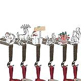 KUZOO 6 Pieces Christmas Stocking Holders, Fireplace Hooks Hanger, Anti-Gold