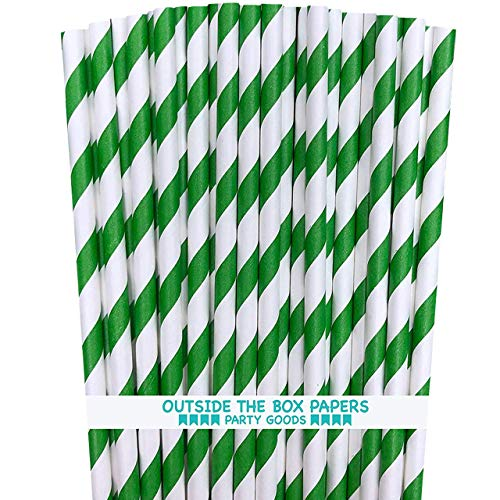 Striped Paper Straws, Green & White — 7.75 Inches, Pack of 100