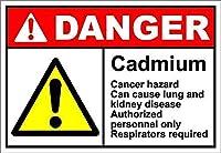 カドミウム危険 金属板ブリキ看板警告サイン注意サイン表示パネル情報サイン金属安全サイン