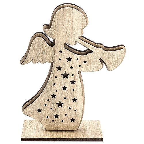 Angelo custode/Angioletto in legno, 12,3 x 16,5 cm, effetto 3D, in 3 pezzi da montare, decorazione per Natale/Avvento/inverno