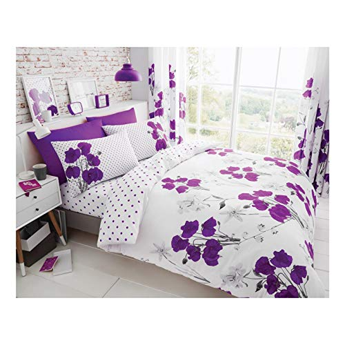 Lions Modern Poppy Floral Printed Quilt Duvet Cover Bedding Set Available in (Aubergine, King)