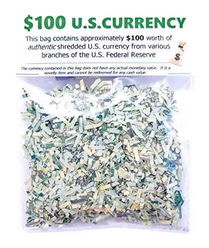 Shredded U.S. Money CASH Currency $100 Genuine Confetti Size Stocking Stuffers Surprise Gift