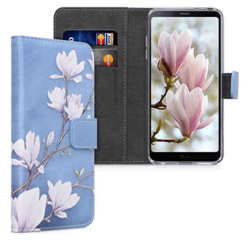 kwmobile Custodia Compatibile con LG G6 - Cover Magnetica Portafoglio con Stand in Simil Pelle - Custodia Case Porta Carte - Magnolie Marrone Grigio Bianco Grigio Blu