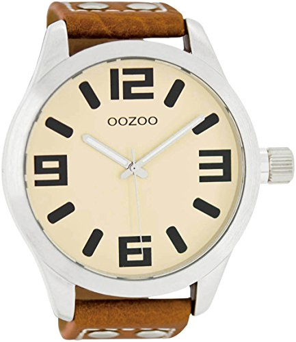 Oozoo XXL Armbanduhr Basic Line mit Lederband 52 MM Creme/Cognac C1002