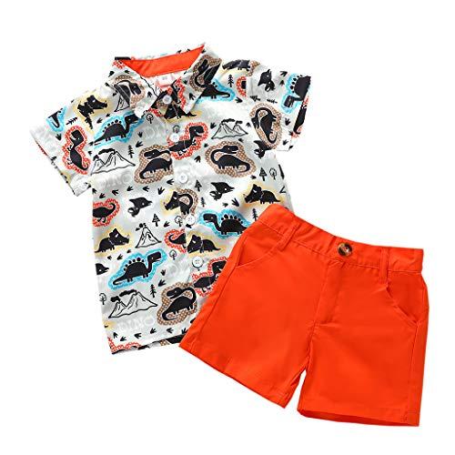 TTLOVE Kleinkind Baby Boy Bekleidung Kurzarm Fliege Gentleman Leaf T-Shirt Tops + Shorts Outfits,Jungen Kinder Sommer Kleidung Set Mode Kurze Und Hosen (Orange B, 100)