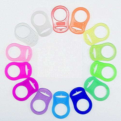 Silicone Adapter Rings Holder for Button Style MAM Nuk Baby Pacifier Soother Teething Ribbon BPA Free Mix Colors Pack of 10