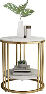 Table Side Table, 2 Tier Wrought Iron Living Room Coffee Table Bedroom Bedside Table Simple Marble Small Round Table for S...