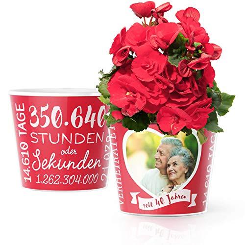 Rubinhochzeit Geschenk – Blumentopf (ø16cm) | Deko Geschenke zum 40. Hochzeitstag für Mann oder Frau mit Herz Bilderrahmen für 1 Foto (10x15cm) | Glücklich Verheiratet - 40 Jahre