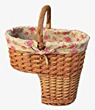 Red Hamper Willow Wicker Rose Lined Stair Basket