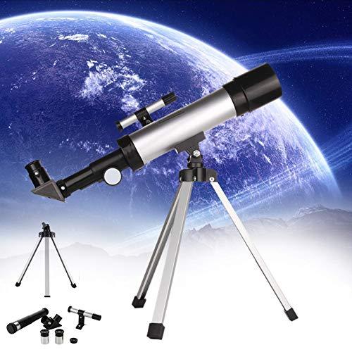 Telescopio astronómico espacial, telescopio monocular de lente de paisaje al aire libre 90X HD, con trípode liviano y 2 opciones de ocular para principiantes, niños, cielo, estrellas, observación de