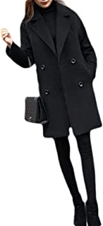 Macondoo Womens Outwear Slim Fit Double Breasted Mid-Long Peacoats Overcoat