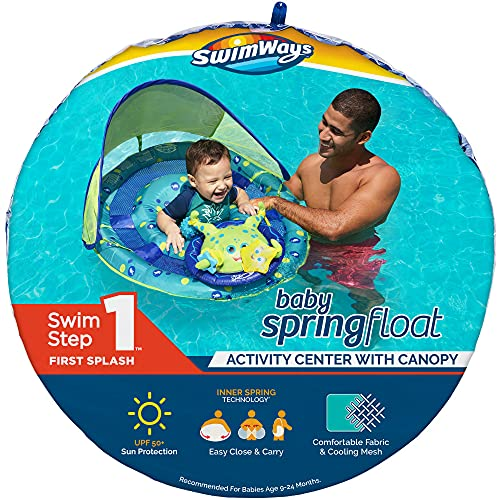 SwimWays Inflatable Baby Spring Octopus Pool Float Activity Center with Canopy