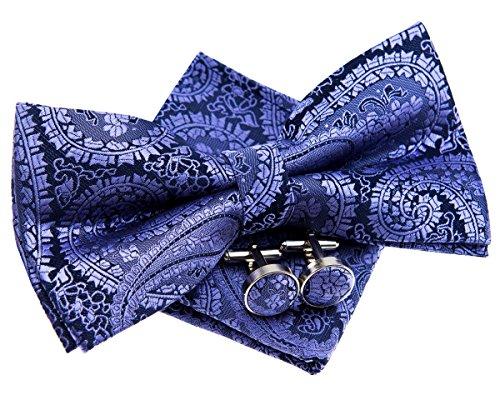Retreez Herren Gewebte vorgebundene Fliege Paisley Kunst Muster 13 cm und Einstecktuch und Manschettenknöpfe im Set, Geschenkset, Weihnachtsgeschenke - violett auf marineblau