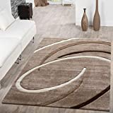 Alfombra para salón, pelo corto, diseño moderno con espirales, color beis y marrón moca, 160 x 230 cm