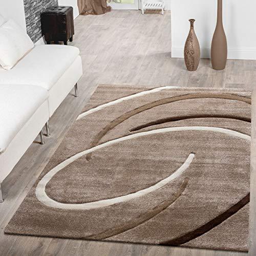 T&T Design Kurzflor Wohnzimmer Teppich Modern Ebro mit Spiralen Muster Beige Braun Mocca, Größe:80x300 cm