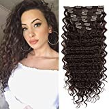 FASHION LINE Synthetic Curly Clip in Hair Extensions Double Weft Full Head Heat Resistance Deep Wave Clip In 7 Pieces (24' Deep Wave, #Light Brown)