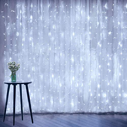 Curtain String Lights, Window Fairy LED Icicle Xmas Lights for Wedding Party Garden Room Outdoor Indoor Wall Decorations(Cool White)