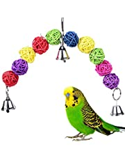 Colorful Hollow Rattan Balls Bird Toy Bird Chew Toys  Bite Toy for Parrot Budgie Parakeet Cockatiel Conure Lovebird Finch Macaw African Grey Cockatoo