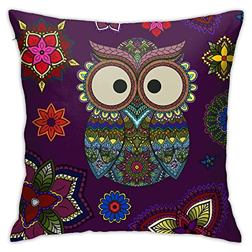 N \ B Funda de almohada con diseño de búho, diseño de flores, diseño de mandala