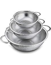 Huante Vergiet Set van 3, roestvrij staal vergiet zeefjes voor het aftappen spoelen wassen, perfect voor Pasta Groenten Fruit